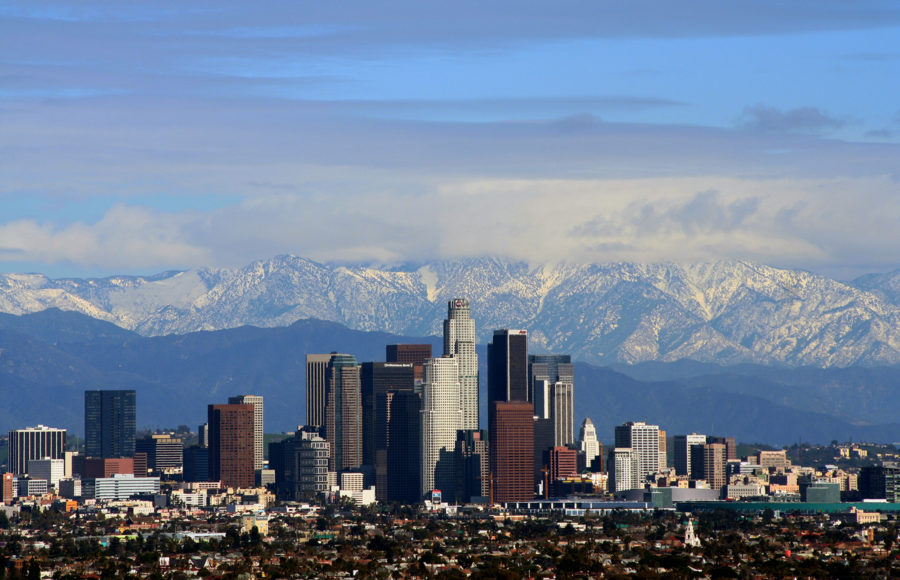 photo of the Los Angeles skyline with mountains in the background