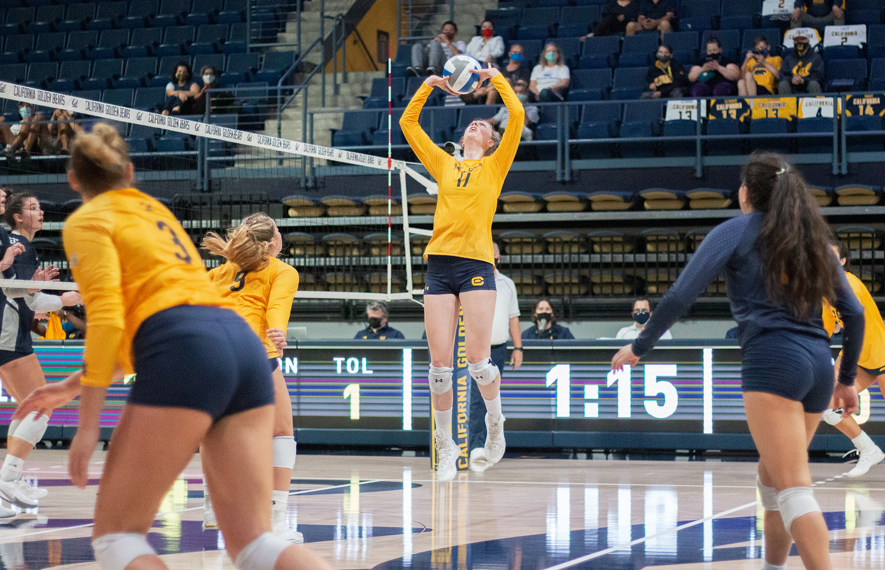 Photo of a Cal volleyball game