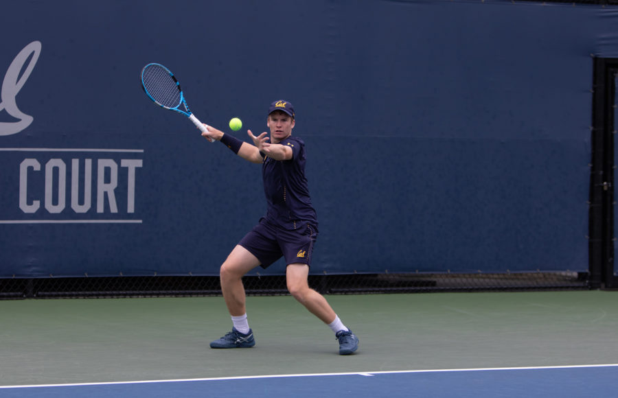 photo of a Cal mens tennis player during a match