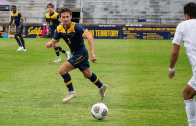Photo of Cal Men's Soccer player on the field