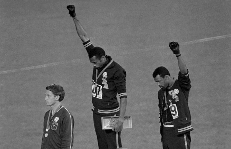 photo of the Black power salute at the 1968 Olympics