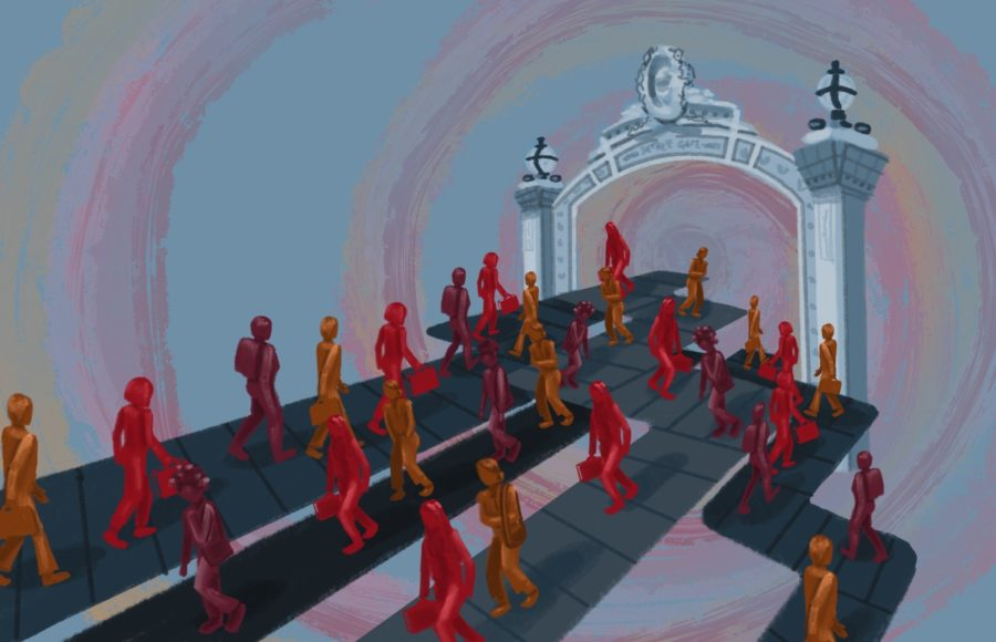 Illustration of lecturers walking into Sather Gate