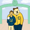 Illustration of Oski and a student