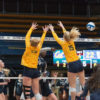 photo of Cal women's volleyball players during a match