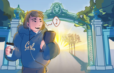 Illustration of a girl listening to music in front of Sather Gate