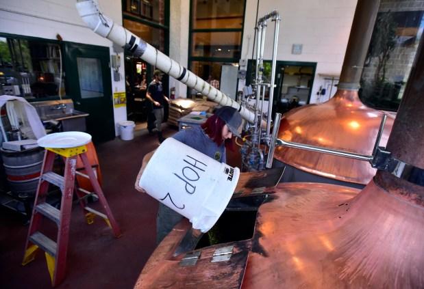 Brewer Mary Cosenza brews a batch ...