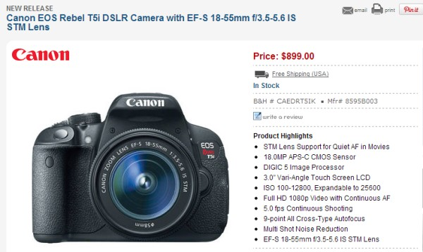 Canon Rebel T5i / EOS 700D in stock and shipping