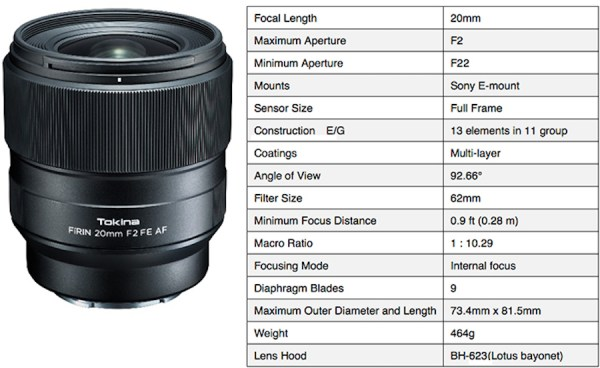 Tokina announces FíRIN 20mm f/2 FE AF lens for Sony E-mount