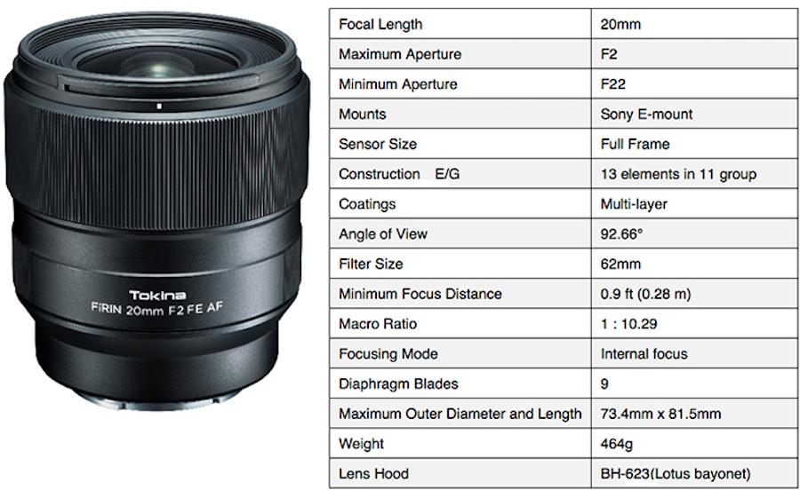 Tokina announces FíRIN 20mm f/2 FE AF lens for Sony E-mount - Daily ...
