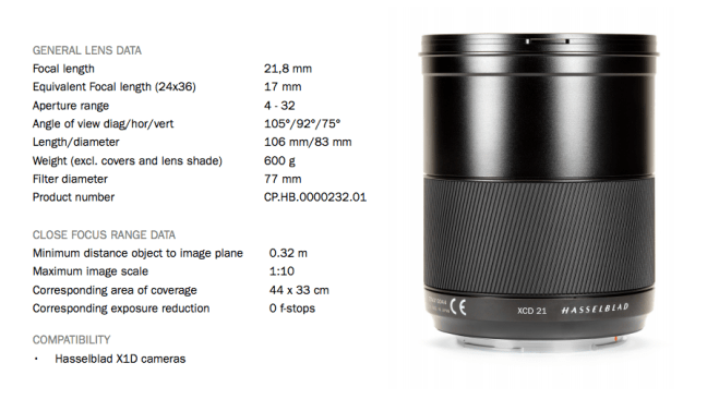 Hasselblad XCD 21mm f/4 medium format mirrorless lens announced