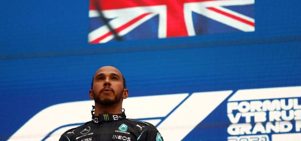 2021 Russian Grand Prix - Race Start - Lewis Hamilton stands aloft - Dailycarblog