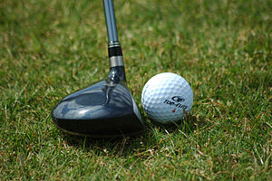 Fairway wood positioned near golf ball - Image via Wikipedia