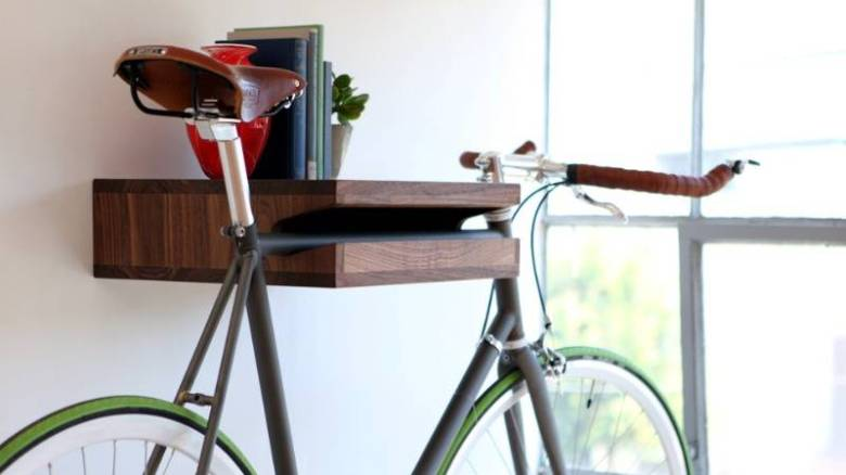 Bike rack bookshelf