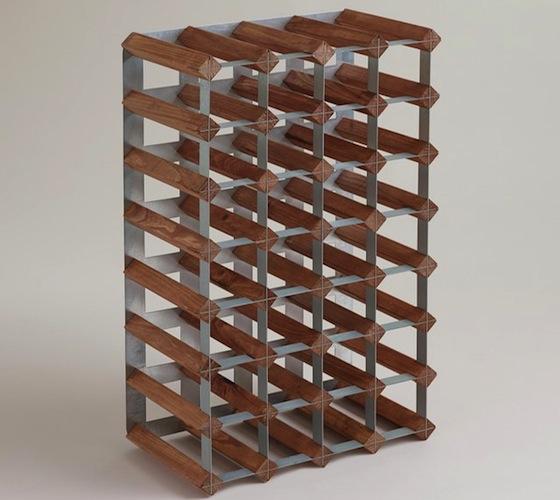 Wood And Metal Industrial Wine Rack