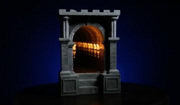Infinite Illuminated-Torch-Lined Dungeon Corridor Infinity Mirror