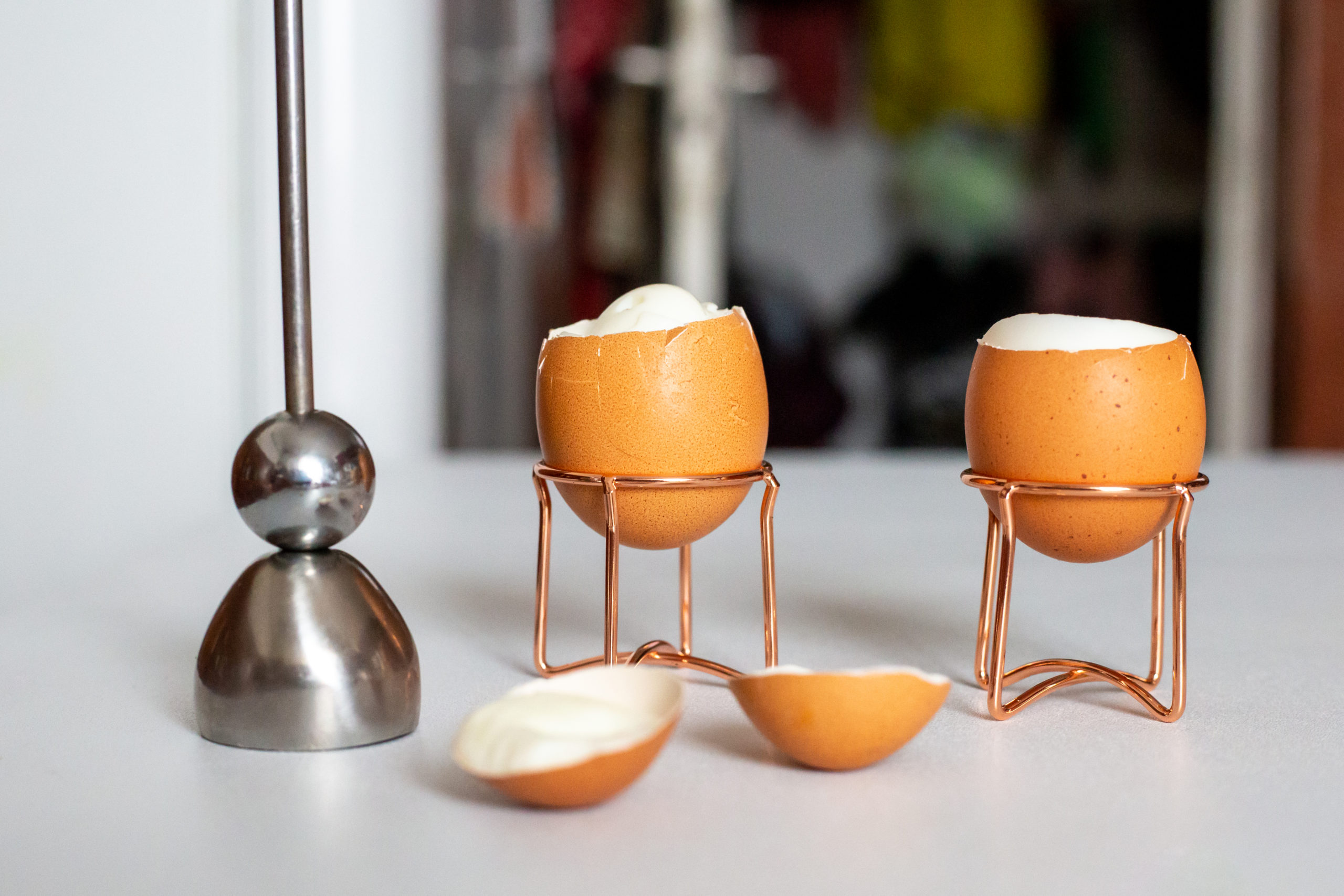 Premium Quality Egg Accessories White Ceramic Top German Engineered Stainless Steel Egg Topper The Original Clack Egg Opener