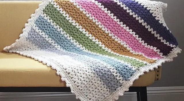 Kết quả hình ảnh cho Easy V-Stitch Baby Blanket