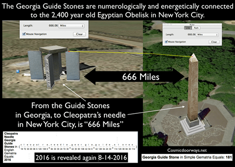 georgia guidestones 666 to nyc obelisk