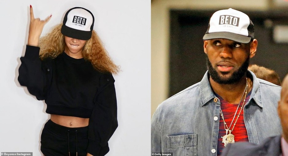 da296f77343 ... rocking a hat with the name of the Democrat facing off against  Republican Ted Cruz in the Texas race for US Senate – weeks after LeBron  James and other ...