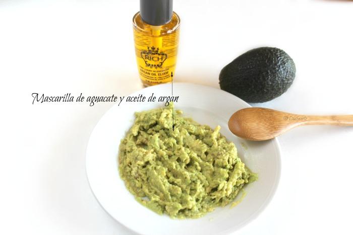 mascarilla de aguacate y aceite de argan
