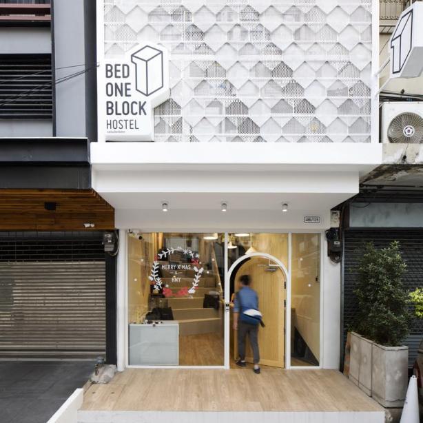 Bed One Block Hostel Design - Entrance
