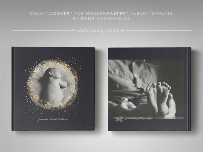 Newborn Photography Album Cover Template Starry Night