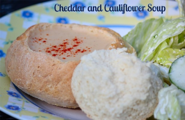 Cheddar and Cauliflower Soup in Bread Bowls