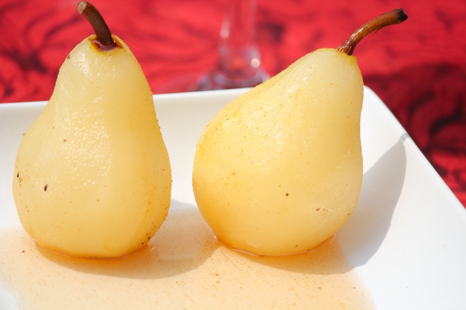 Poached Pears in Cinnamon Wine