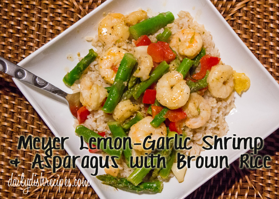 Meyer Lemon-Garlic Shrimp Asparagus Brown Rice with Title
