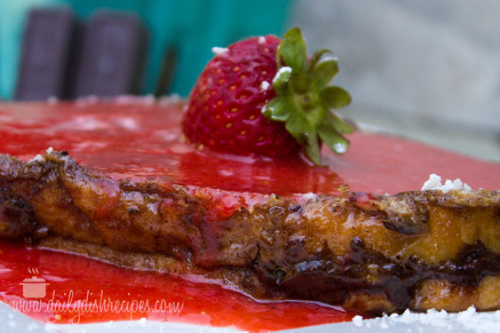 Chocolate French Toast with Strawberry Sauce
