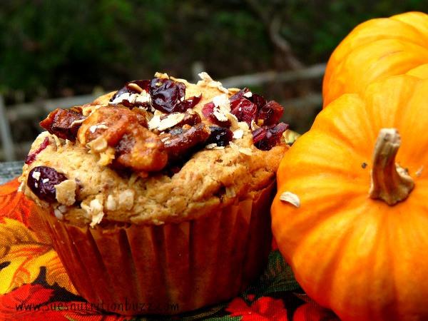 Spiced Pumpkin Ricotta Oat Muffins with Craisins and Walnuts