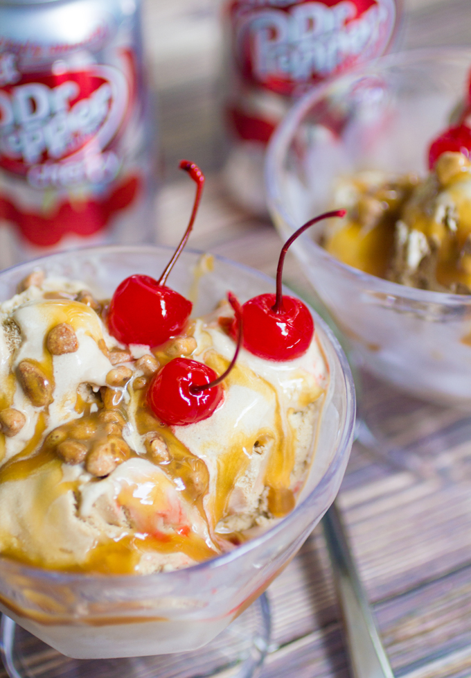 Dr Pepper Ice Cream with Dr Pepper Caramel Sauce