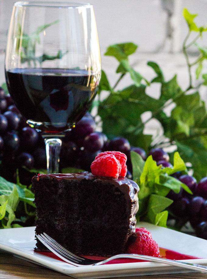 Dark Chocolate Red Wine Cake with Red Wine Raspberry Sauce #SundaySupper