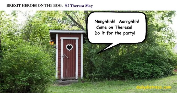 Brexit Heroes on the Bog.  Theresa May.  Daily Distress satire.
