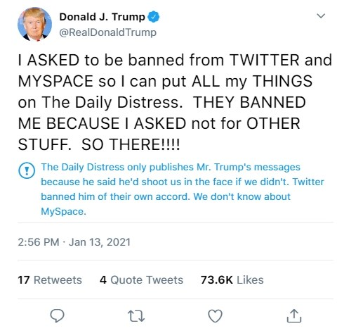 daily distress trump tweets satire