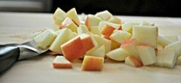 slices of apple chopped up for dog