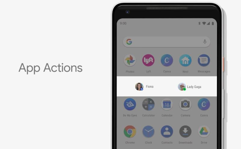 google app actions feautre android p