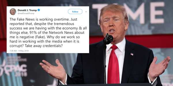 Trump's Claim That 91 Percent of News About Him Is Fake Is ...