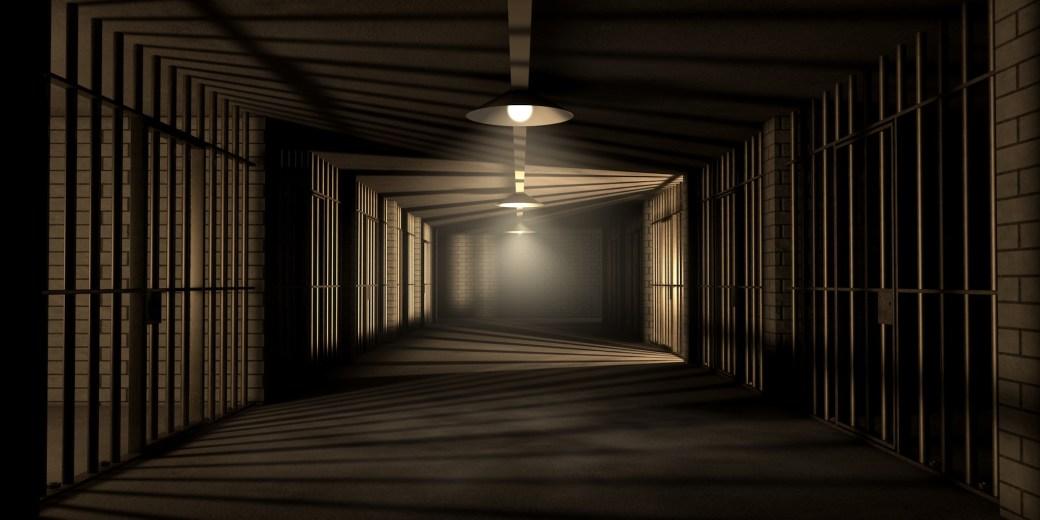 Dark prison with lights down the center