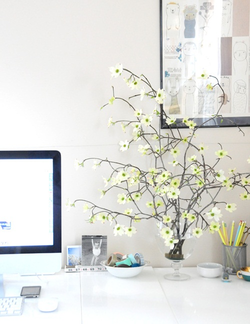 The Springy Home Office Featuring Beautiful Dogwood Branches Such A Pity We Don T Have It Here Of Ez Creaturecomforts