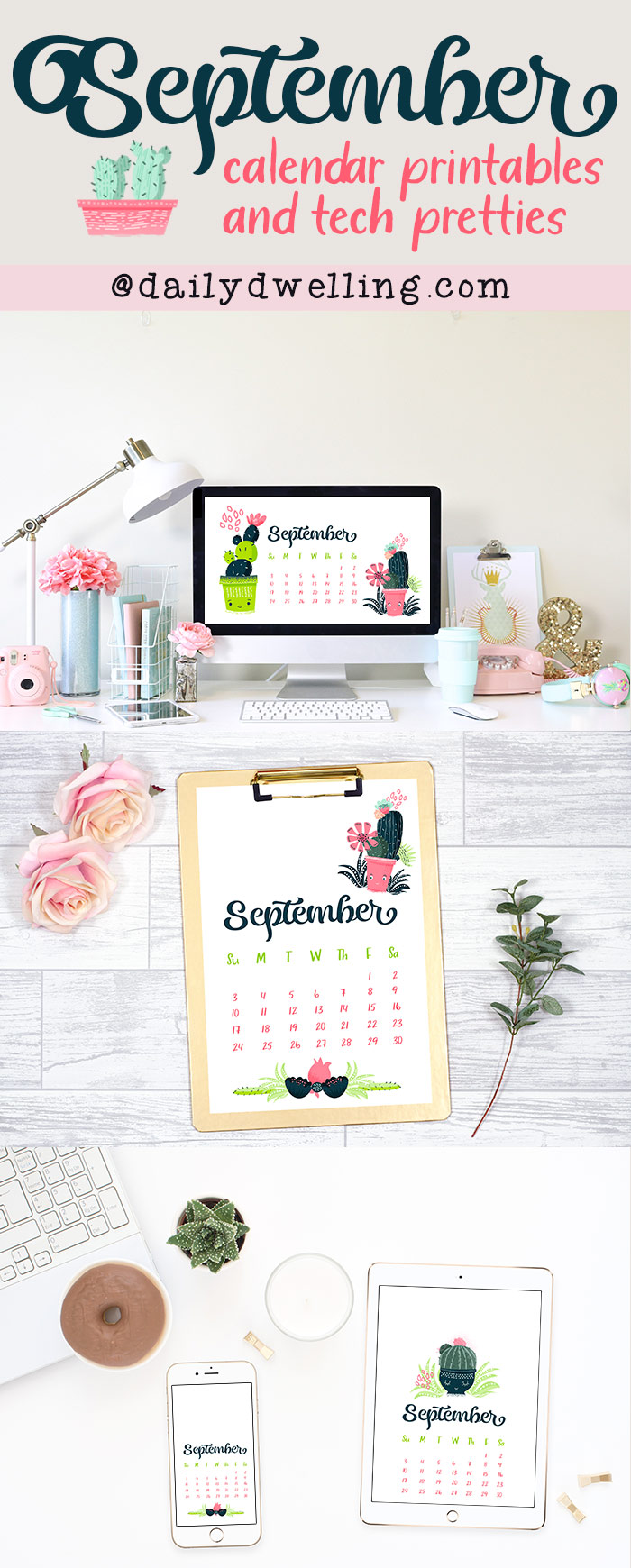 September 2017 Calendar Printables and Tech Pretties