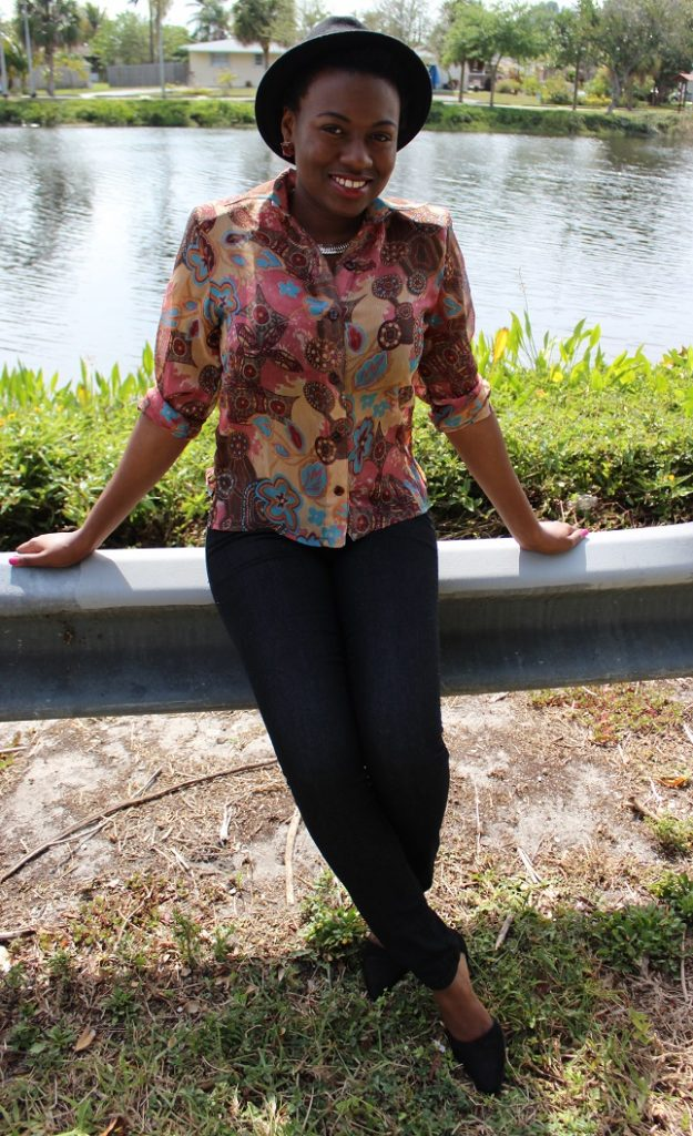 Psychedelic Thrifted Blouse, OOTD, Thrifted Top, How to wear a thrifted top