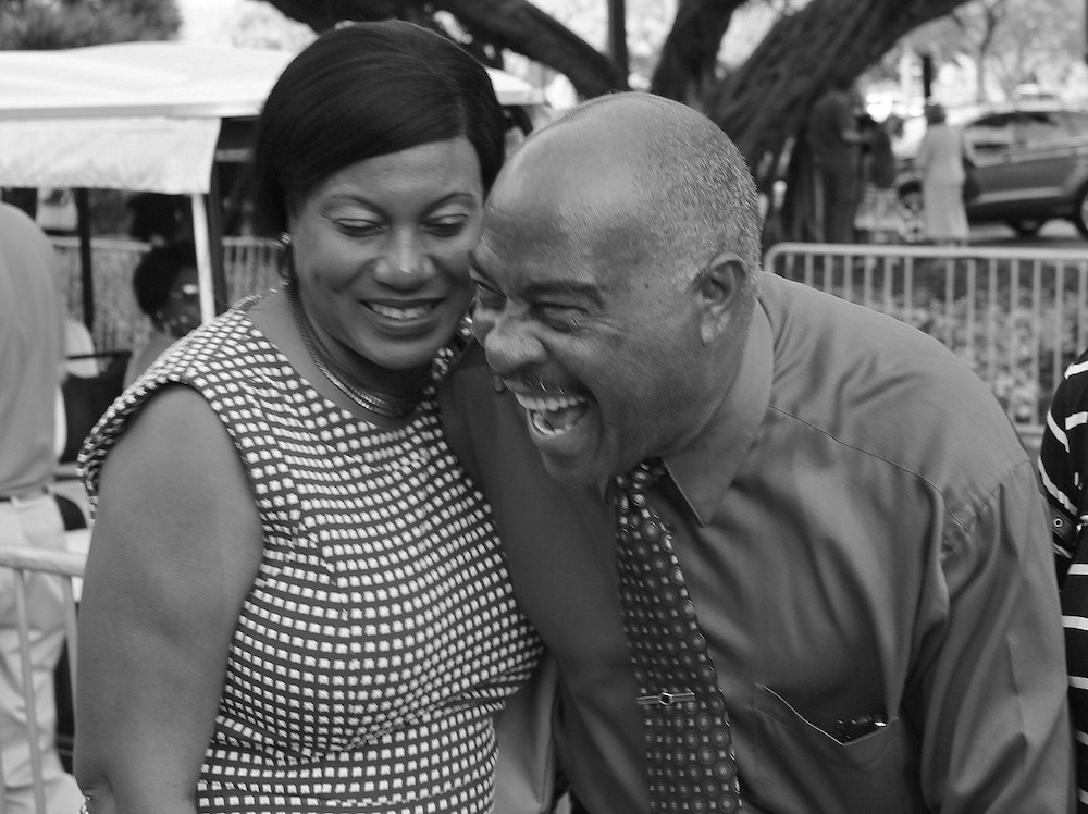 husband and wife, laughter, black and white photo
