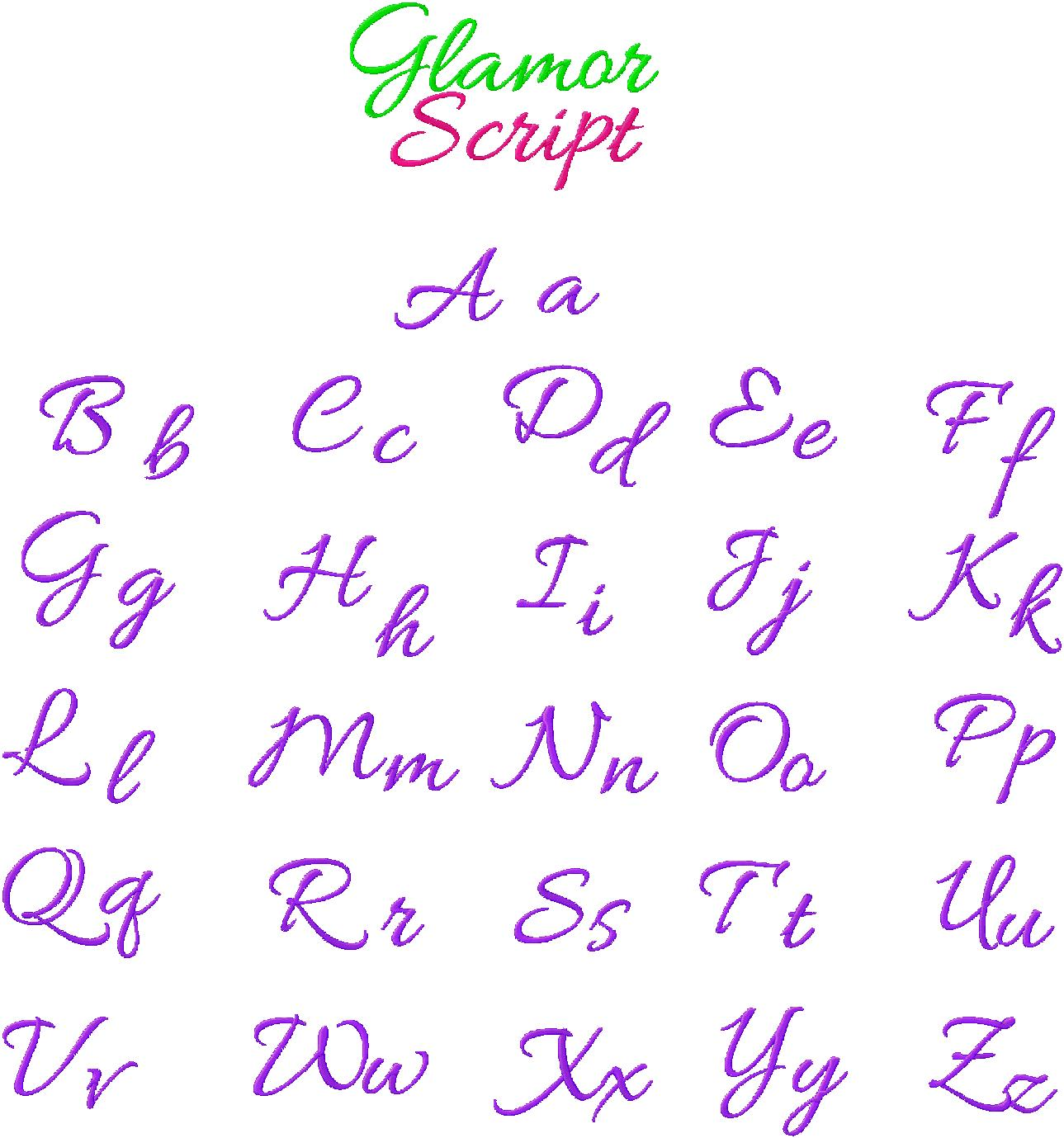 Free Cursive Embroidery Font Glamour Script Daily Embroidery