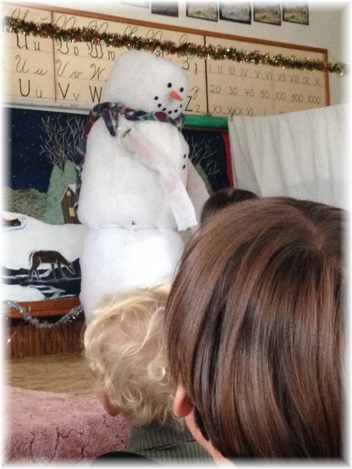 Frosty the Snowman at an Amish one-room school program 12/22/14