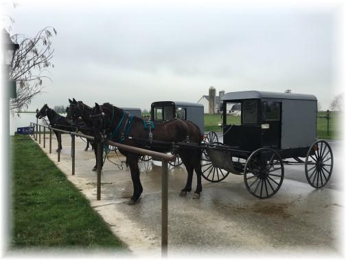 "Horse and buggies at Amish ""Walmart"" near Bird In Hand, PA 12/29/15"