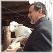 Stephen Weber with lamb 3/16/14