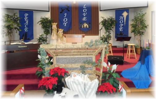 Front of church Christmas season 2013