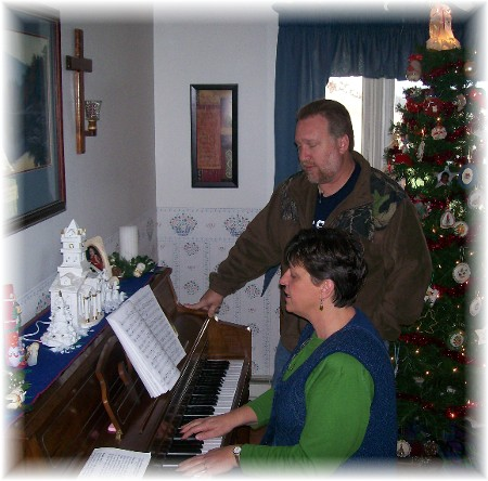Mike Book and Brooksyne rehearsing for Christmas musical