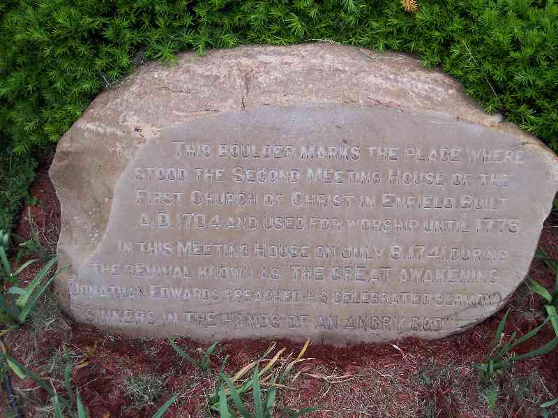 """Stone marking location where Jonathan Edwards preached """"Sinners in the hands of an angry God"""""""